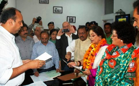 BJP Lok Sabha Candidate Kirron Kher along with Husband Anupam, Ex-MP Satya Pal Jain & Party activists filed nomination papers at DC Office Sector 17 Chandigarh