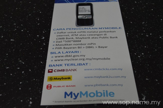 Pembayaran Cukai Taksiran DBKL dengan MyMobile