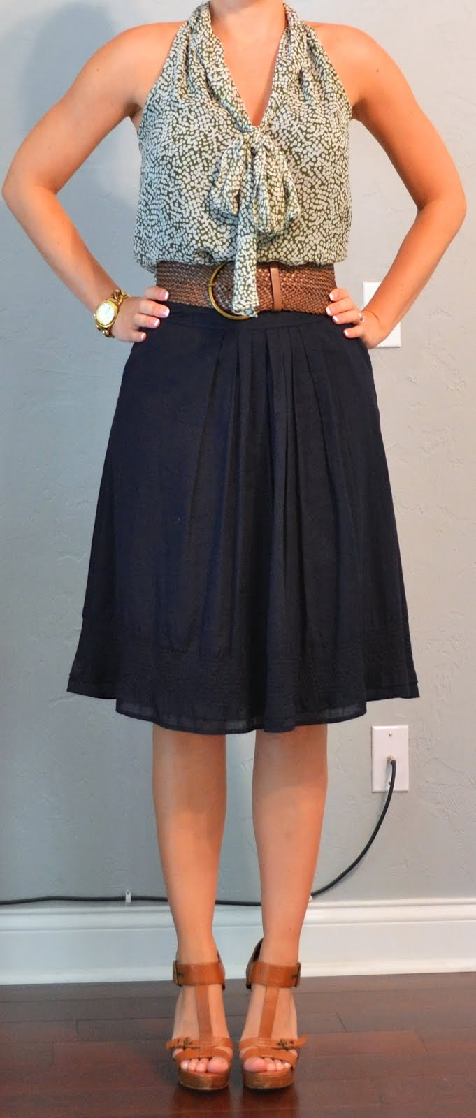 Outfit posts green tie blouse navy a-line skirt tan t ...