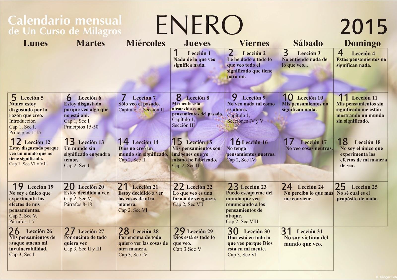 Calendario Un Curso de Milagros Enero 2015