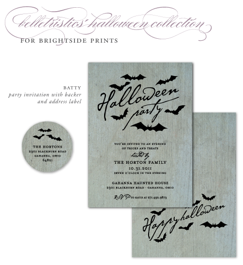 bats batty halloween party invitation belletristics brightside prints