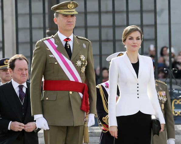 King Felipe VI of Spain and Queen Letizia of Spain attended the 'Pascua Militar' ceremony at the Royal Palace