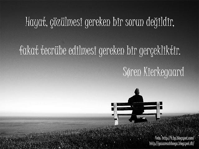 Hayat, çözülmesi gereken bir sorun değildir,  fakat tecrübe edilmesi gereken bir gerçekliktir. Søren Kierkegaard Life is not a problem to be solved but a reality to be experienced. Türkçe Tercümesi