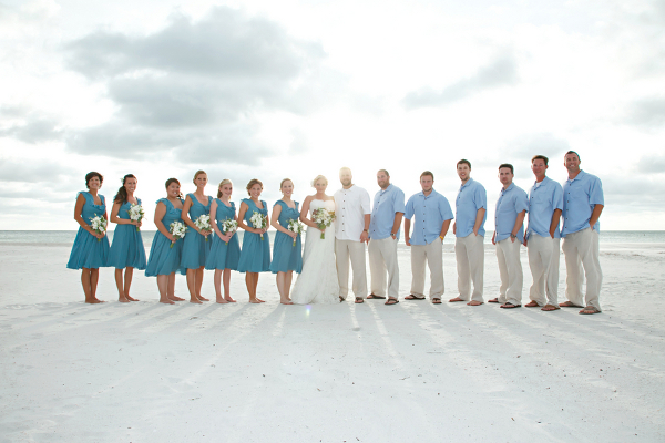 Blue Beach Wedding for Bridesmaids and Groomsmen