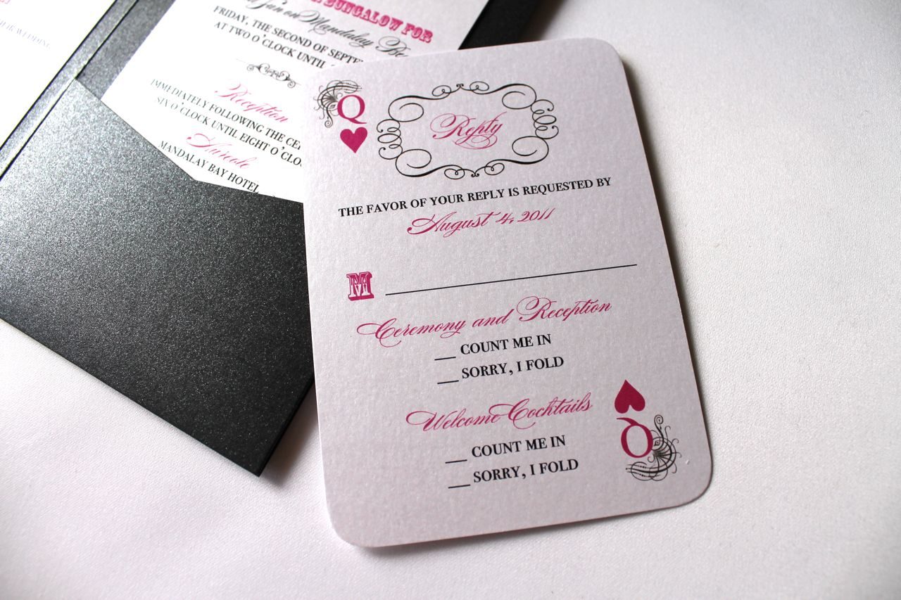 Viva Las Vegas Hot Pink Wedding Invites - Embellished Paperie LLC