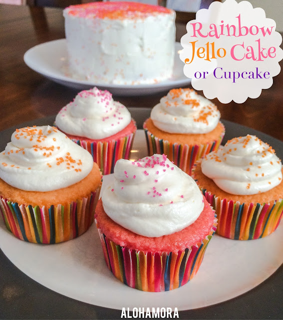 Rainbow Jello Cake or Cupcakes.  So simple and easy to make.  You can simply and easily make any flavor or color of your choice for any birthday (kid or adult), party, or gathering of any kind.  Alohamora Open a Book http://www.alohamoraopenabook.blogspot.com/