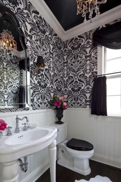 Baños Elegantes Con Tina:Decoración de la Casa: Baños elegantes en blanco y negro