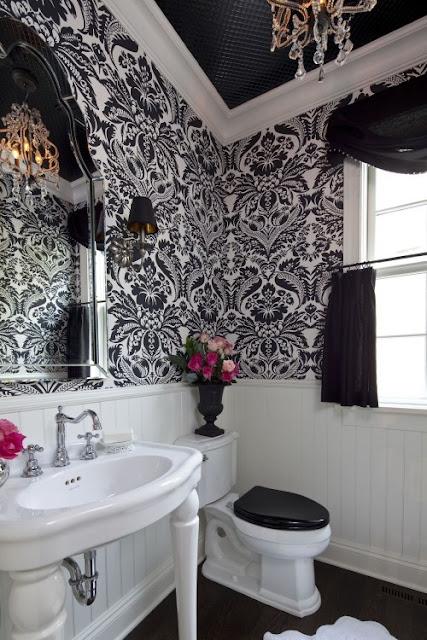 Baños Elegantes Blancos:Baños elegantes en blanco y negro
