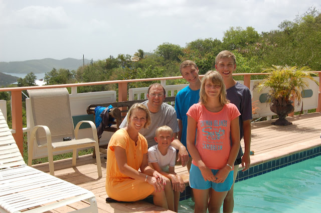 Family Picture at the Pool of Villa Mahr at Coral Bay St John US Virgin Islands