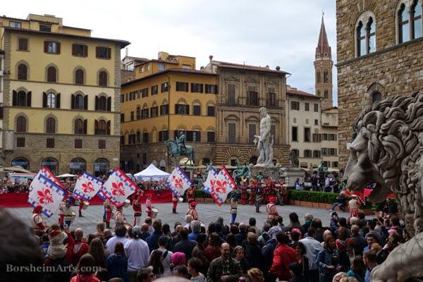 Florence, Italy, Labor Day, flag-waving competition, Piazza della Signoria