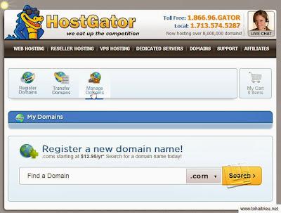 Trỏ domain từ Hostgator về host
