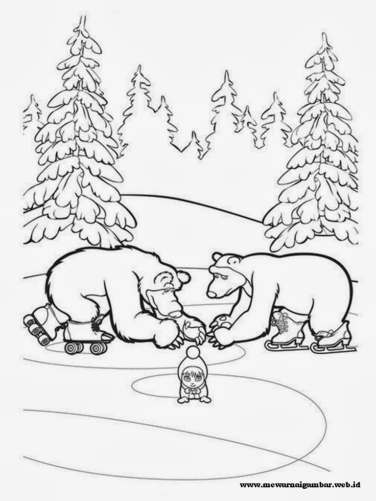 lembar mewarnai gambar masha and the bear