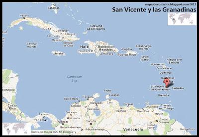Mapa de San Vicente y las Granadinas en Centroamérica y El Caribe, Google Maps