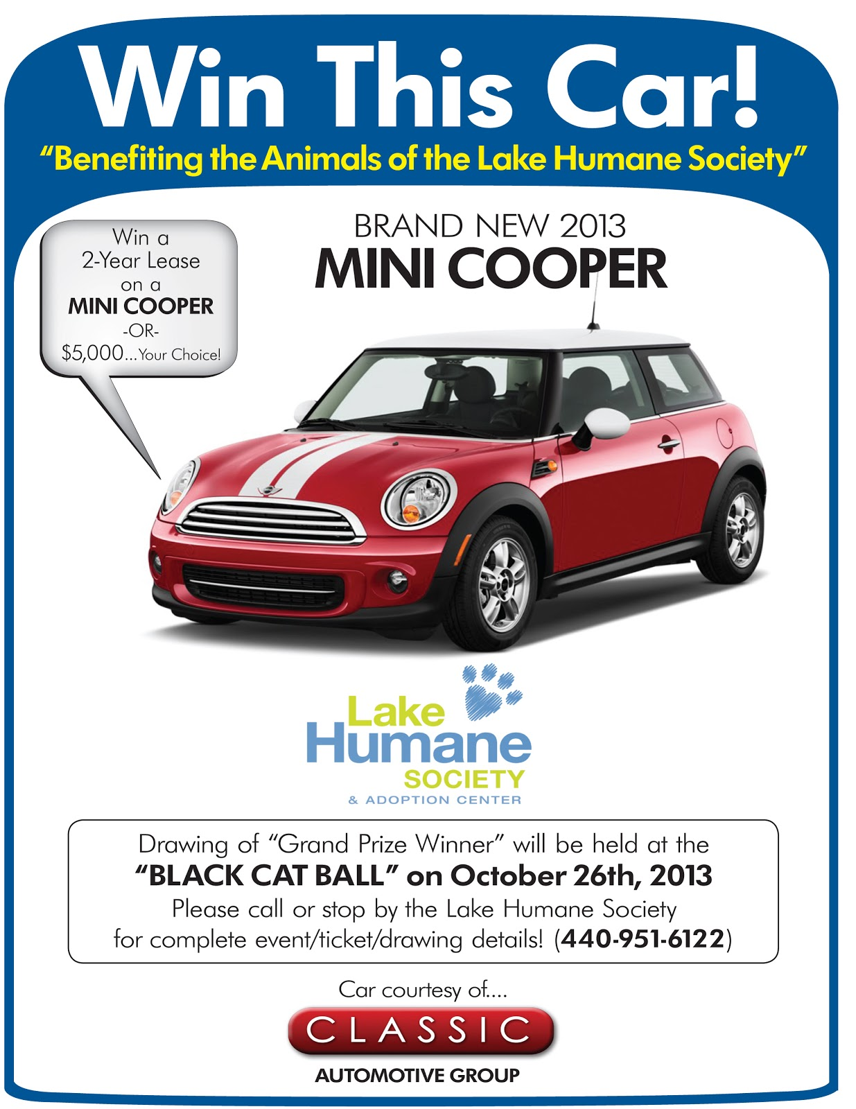 Lake Humane Society Win a Brand New Car or $5 000 Cash