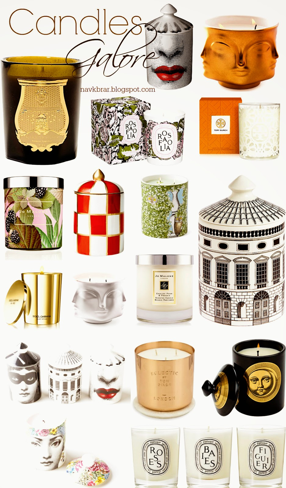 Decortative designer scented candles shopping guide: Jo Malone, Tory Burch, Diptyque, Jonathan Adler, Fornasetti