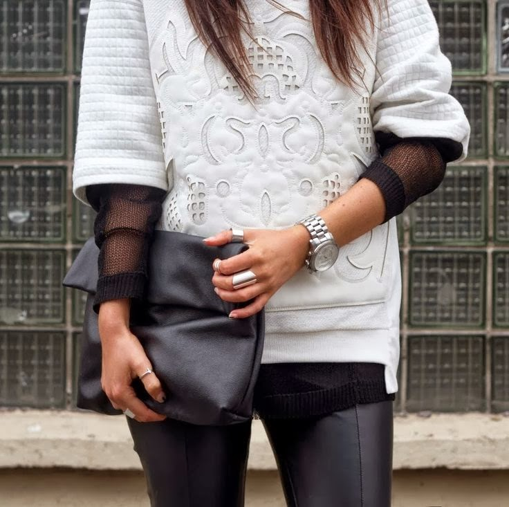white, sweatshirt, leather, details