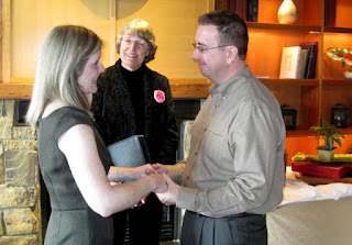 Johnny and Krista wed at Willows Lodge - Officiated by Patricia Stimac, Seattle Wedding Officiant