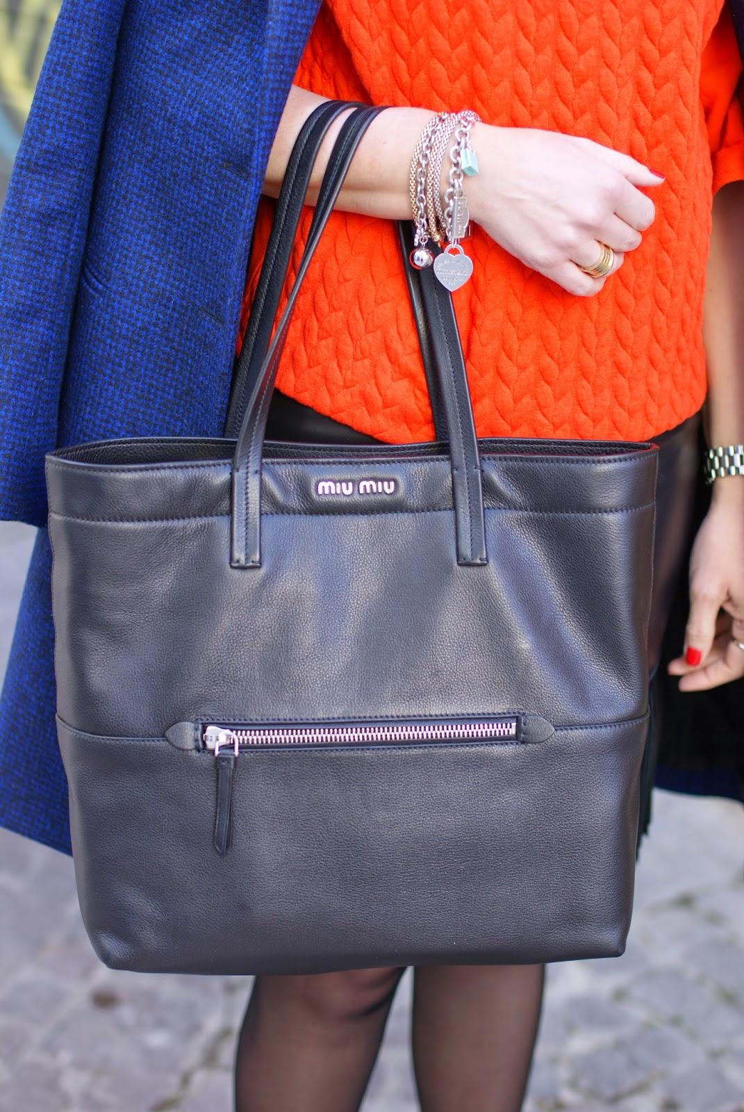 Mia Miu black leather tote, bursa shopping Miu Miu, Fashion and Cookies fashion blog, fashion blogger