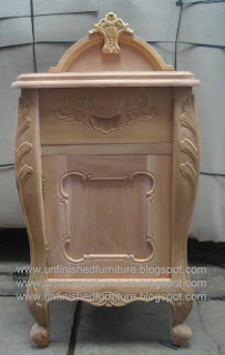 Furniture klasik nakas ukir klasik mahoni mentah unfinished supplier solid bedside mentah mahoni
