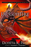 cover of DragonFire by Donita K. Paul book four in the DragonKeeper Chronicles shows a firebreathing dragon against a red background