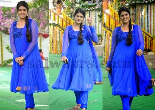 Telugu Artist Bhavana Blue Salwar