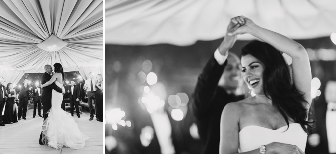 the bride and groom's first dance surrounded by sparklers