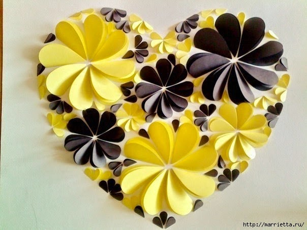DIY Easy Paper Heart Flower Wall Art