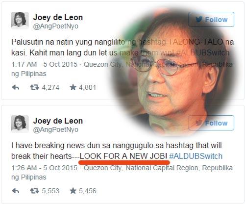 Joey De Leon AlDub tweet