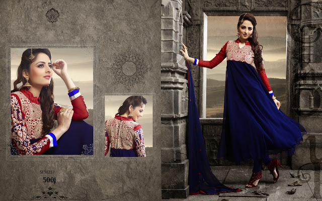 New Designer Georgette Neck Long Embroidered Anarkali Suit