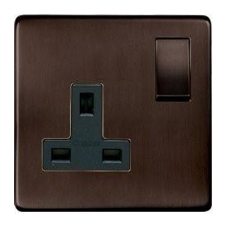 Heritage Brass Screwless 13 Amp Single Switched Socket in bronze