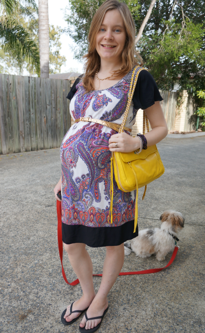 Third trimester belted Jeanswest Melanie paisley print dress bright yellow bag