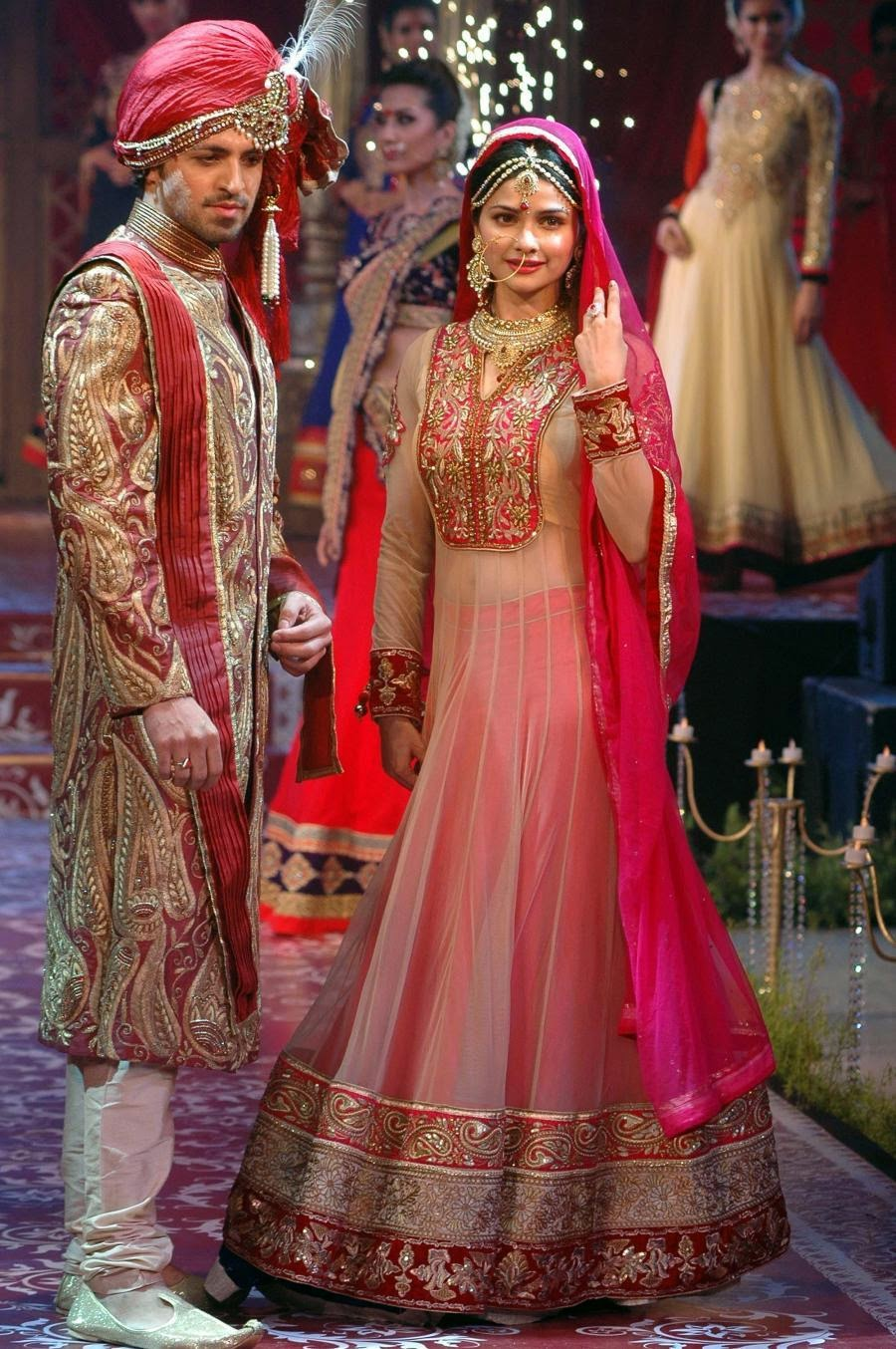 Bollywood Actress Saree Collections Prachi Desai Pink Bridal Heritage Anarkali Suit At Fashion