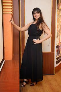 Actress Saloni Aswani Picture Gallery in Black Long Dress at (GAMA) Gulf Andhra Music Awards 2014 Press Meet  18.JPG