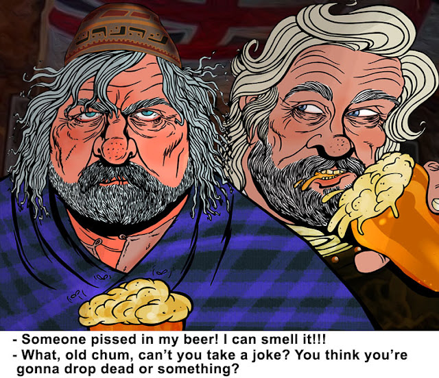 Oliver Reed and Richard Harris by Sophie Cossette