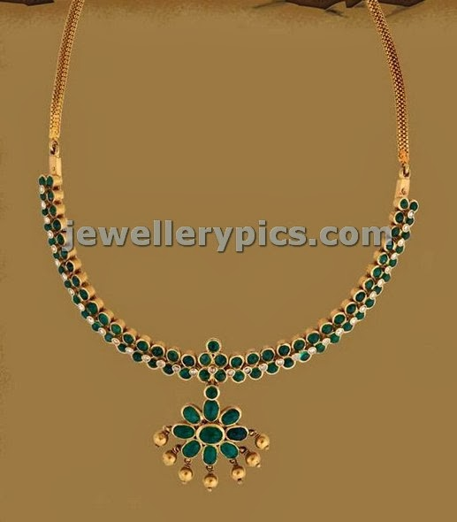 emerald addigai gold traditional necklace