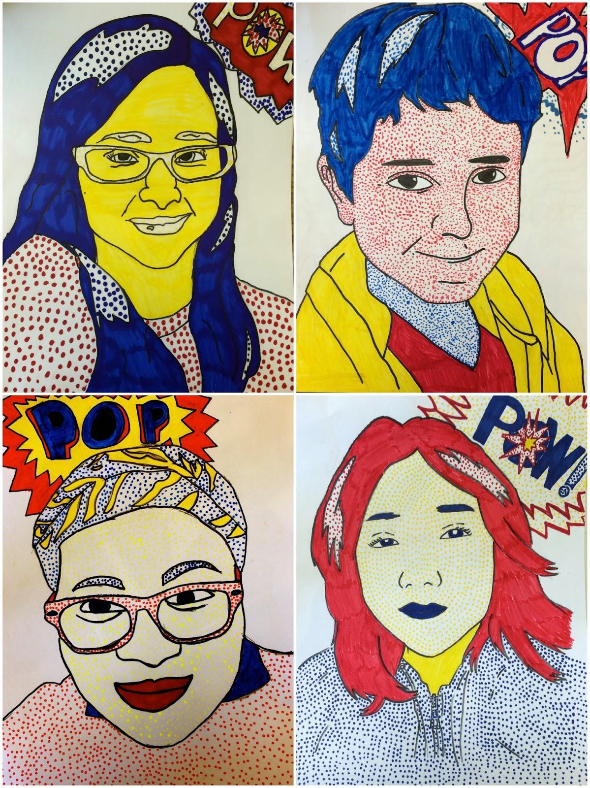 art eat tie dye repeat 6th grade roy lichtenstein self portraits. Black Bedroom Furniture Sets. Home Design Ideas