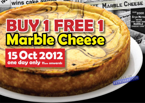 Secret Recipe Beli 1 Percuma 1 Marble Cheesecake 15 Oktober 2012