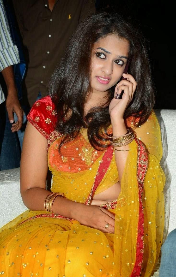 Actress Nanditha Latest Cute Hot Transparent Saree Navel Show Spicy Photos Gallery At Ram Leela Movie Audio Launch