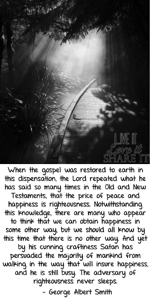 When the gospel was restored to earth in this dispensation, the Lord repeated what he has said so many times in the Old and New Testaments, that the price of peace and happiness is righteousness. Notwithstanding this knowledge, there are many who appear to think that we can obtain happiness in some other way, but we should all know by this time that there is no other way. And yet by his cunning craftiness Satan has persuaded the majority of mankind from walking in the way that will insure happiness, and he is still busy. The adversary of righteousness never sleeps. - George Albert Smith