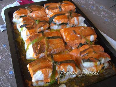 Erruki laurel merluza rellena al horno en paquetitos - Merluza rellena de marisco al horno ...