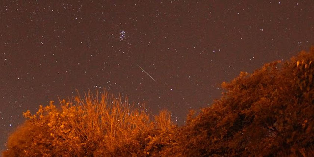 Perseid shooting star near the Pleiades over Woodingdean, Sussex, on the early morning of the 13th August, 2013. Credit: Darren Baskill.