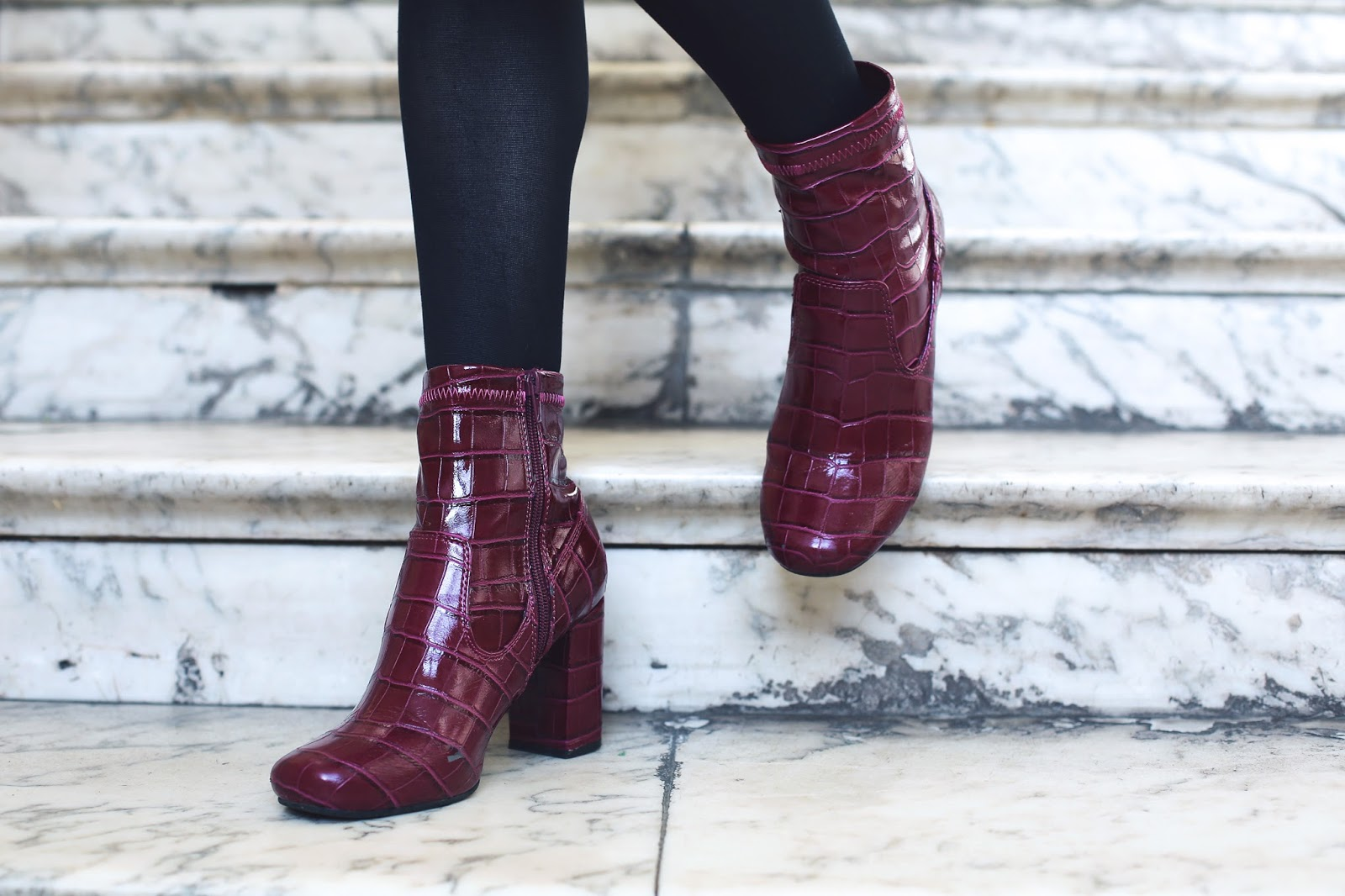 red burgundy snakeskin boots
