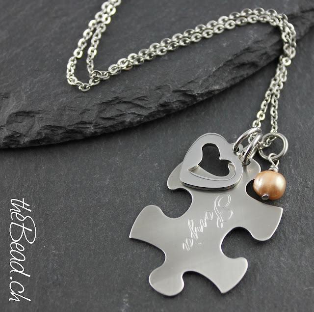 gravur halskette mit puzzle namens anhaenger graviert