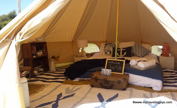 We could even stand up in our tent! This was a far cry from our previous c&ing experiences together although we did use a blow-up mattress underneath our ... & Beachside Glamping on Phillip Island in Australia ~ My Traveling Joys