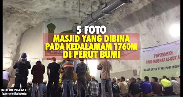 Sungguh luar biasa masjid ini kerana dibina dalam perut bumi (5 Foto)