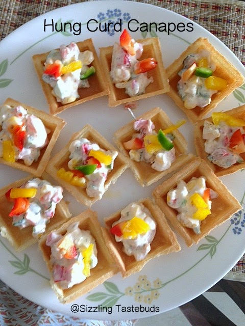 Sizzling tastebuds hung curd canapes easy party ideas for Easy canape fillings