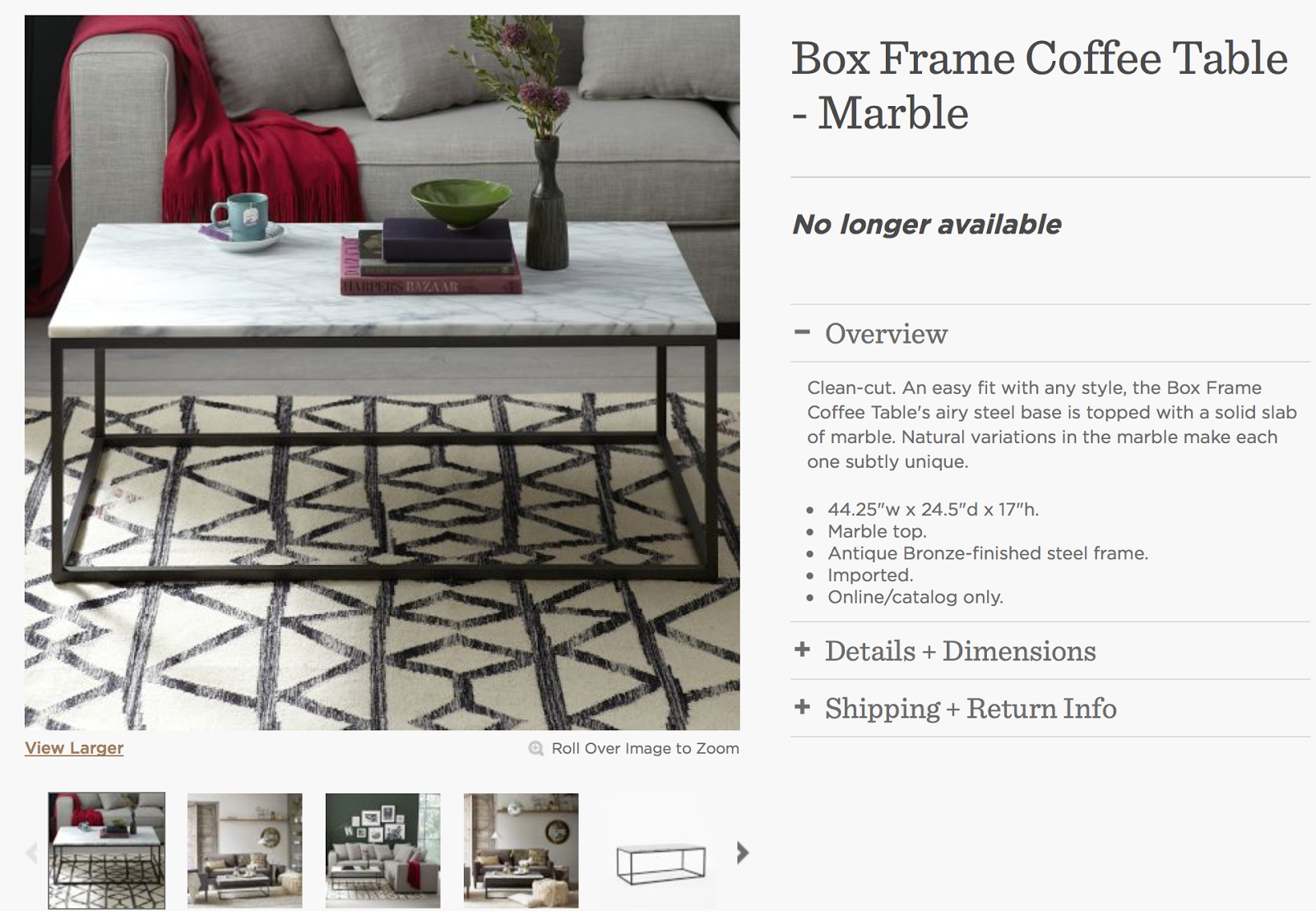 DSK Steph My Dream Discontinued West Elm Marble Coffee Table Edit - Box frame coffee table marble top