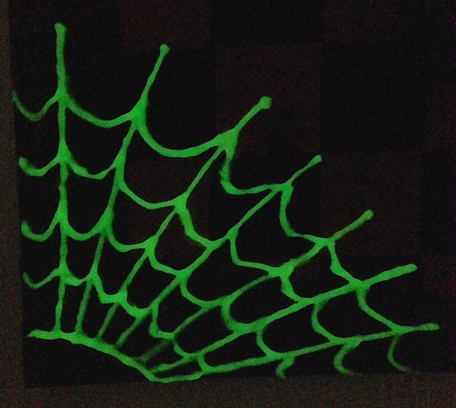 glow in the dark puffy paint spider web