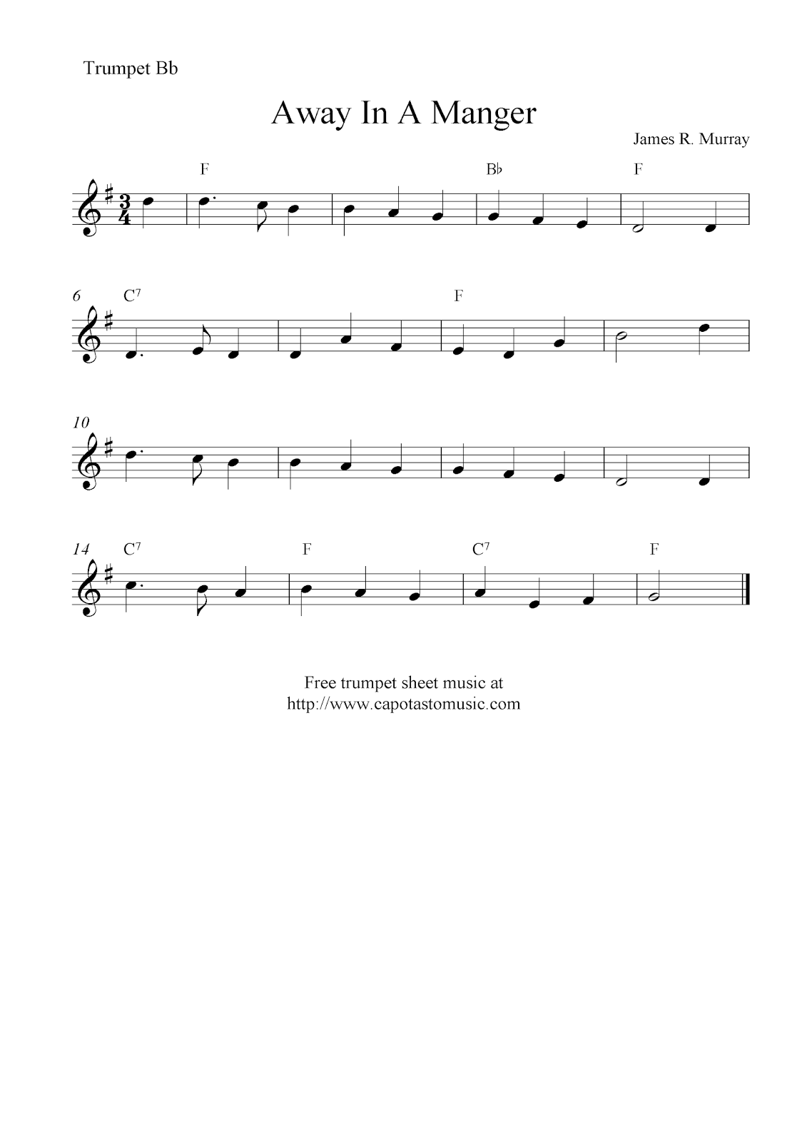 Away In A Manger, free Christmas trumpet sheet music notes