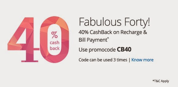 Paytm Cashback Offer : Get 40 % on Recharges and Bill payment on Paytm